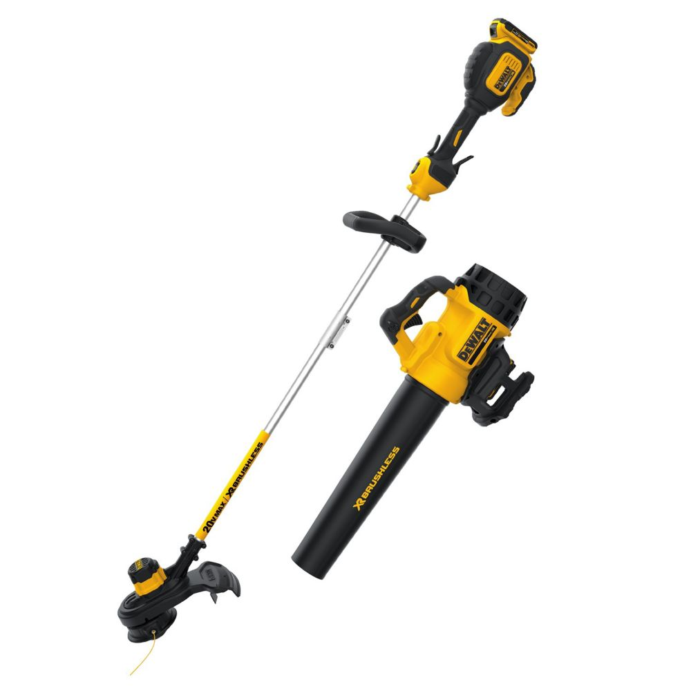 DEWALT XR 20V MAX Li-Ion Brushless Blower and String Trimmer Combo Kit with Batteries and Charger