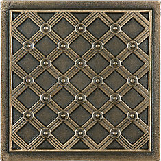 Kairos 4-inch x 4-inch Metal Decorative Tile in Cast Bronze