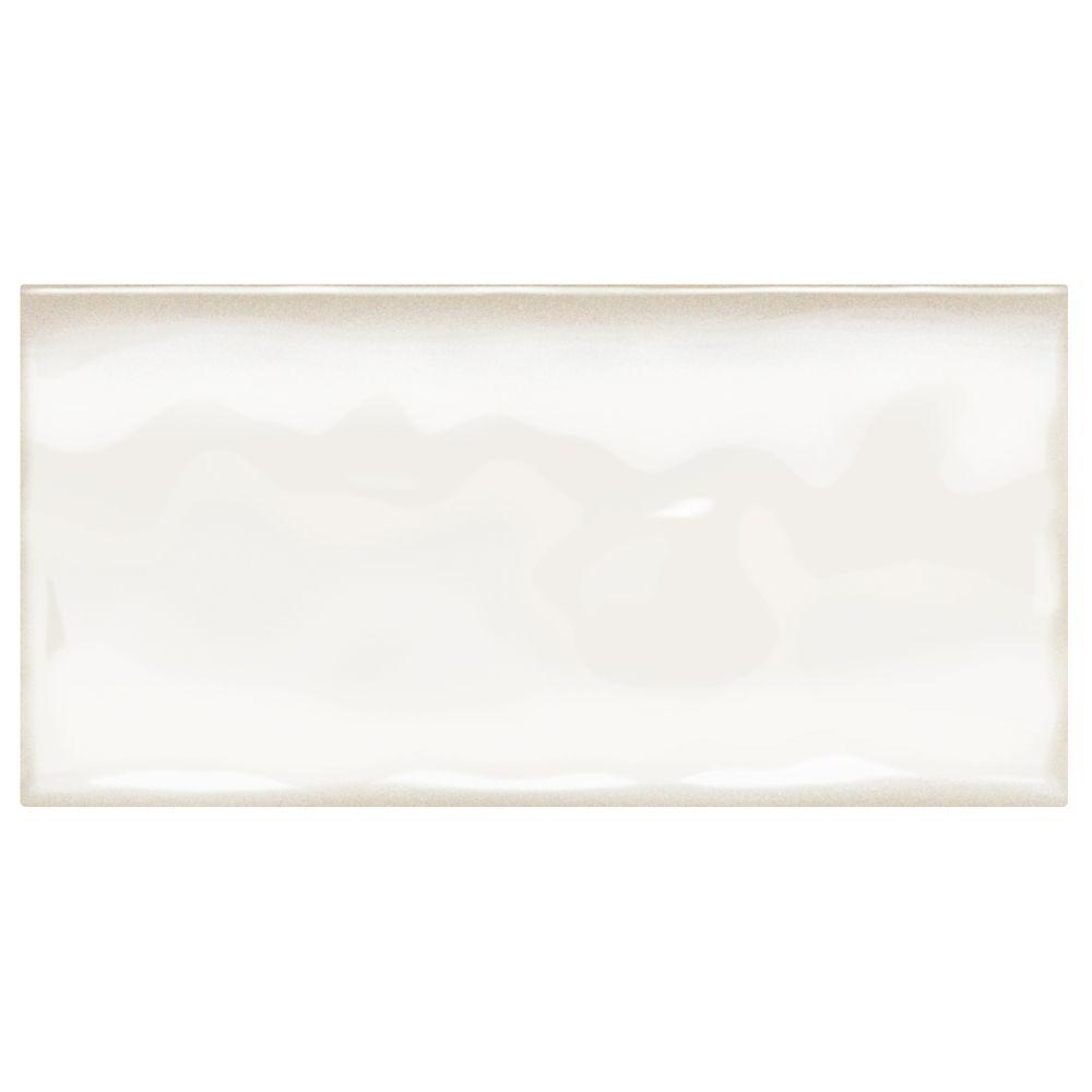 Carreau mural 7,62x 15,24cm céramique émaillée blanc minimal Effets structurés (1,11m2/caisse)