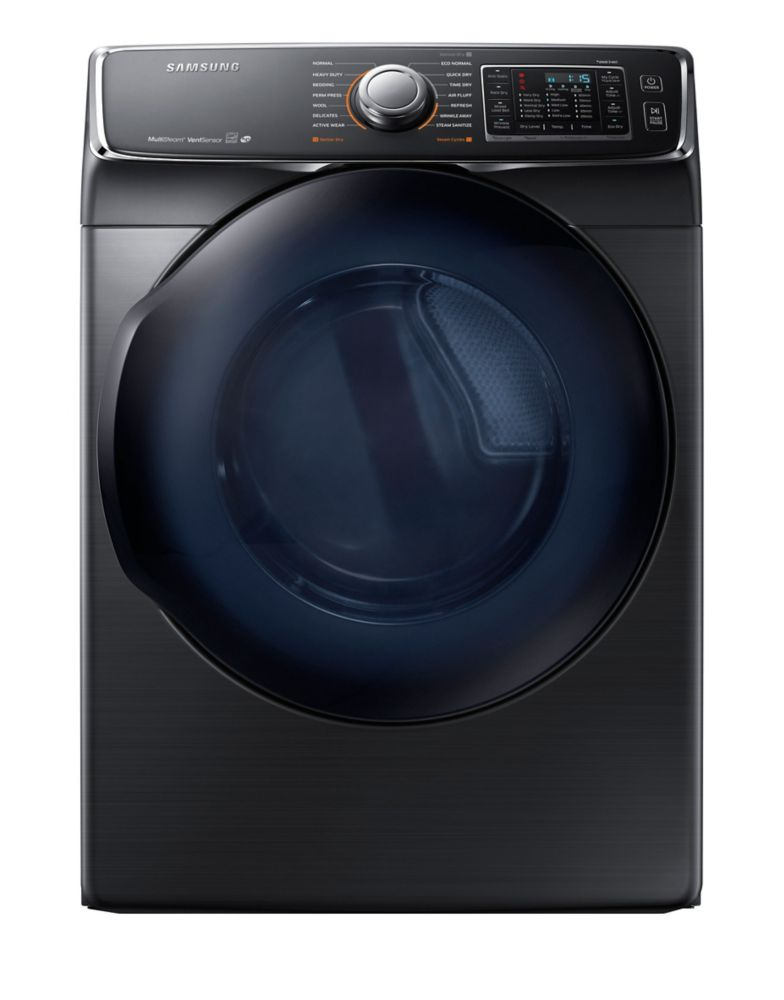 Samsung 7.5 cu. ft. Front Load Electric Dryer with Steam in Black Stainless Steel DV50K7500EV