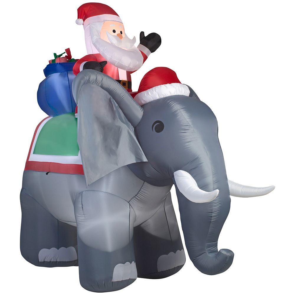 Airblown - Scène de père Noël sur un éléphant - Géant