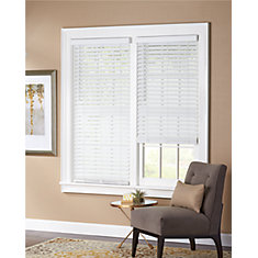 2-inch Cordless Faux Wood Blind White 66-inch x 48-inch (Actual width 65.625-inch)
