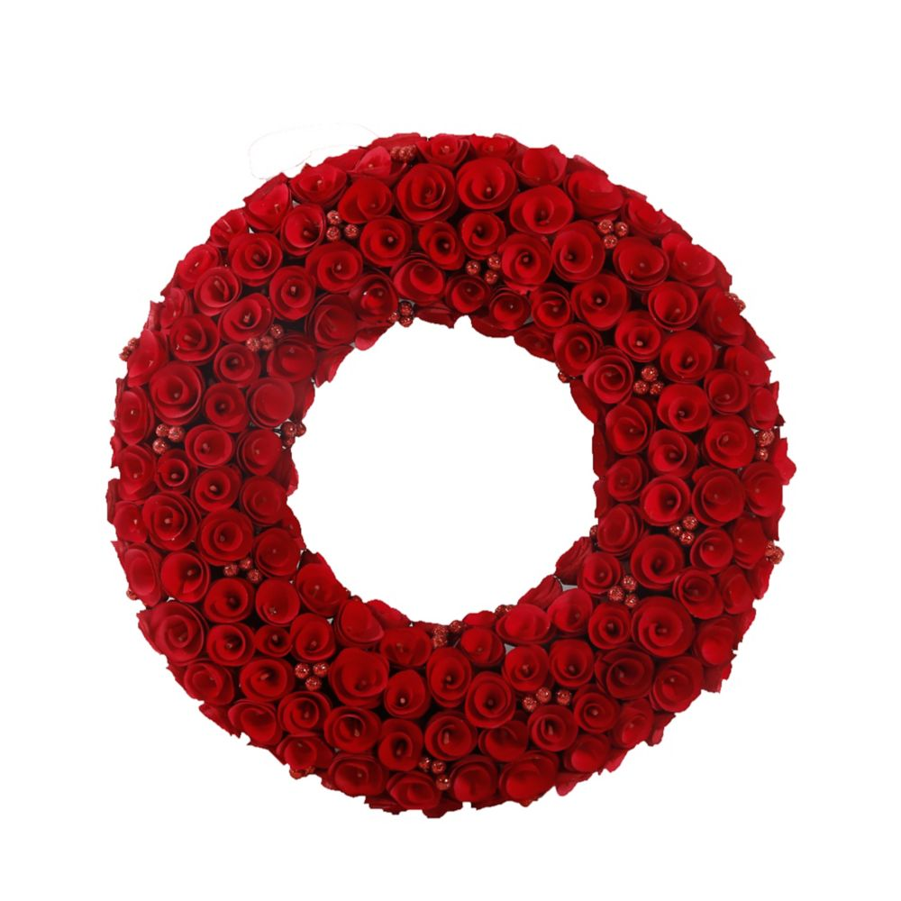 22 Inch Red Wood Curl Wreath With Glittery Berries