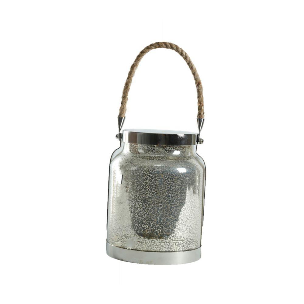 Lanterne en verre étamé de 20,3 cm à DEL avec lumières scintillantes