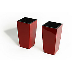Mini Modena Self-Watering Planters in Glossy Red (2-Pack)