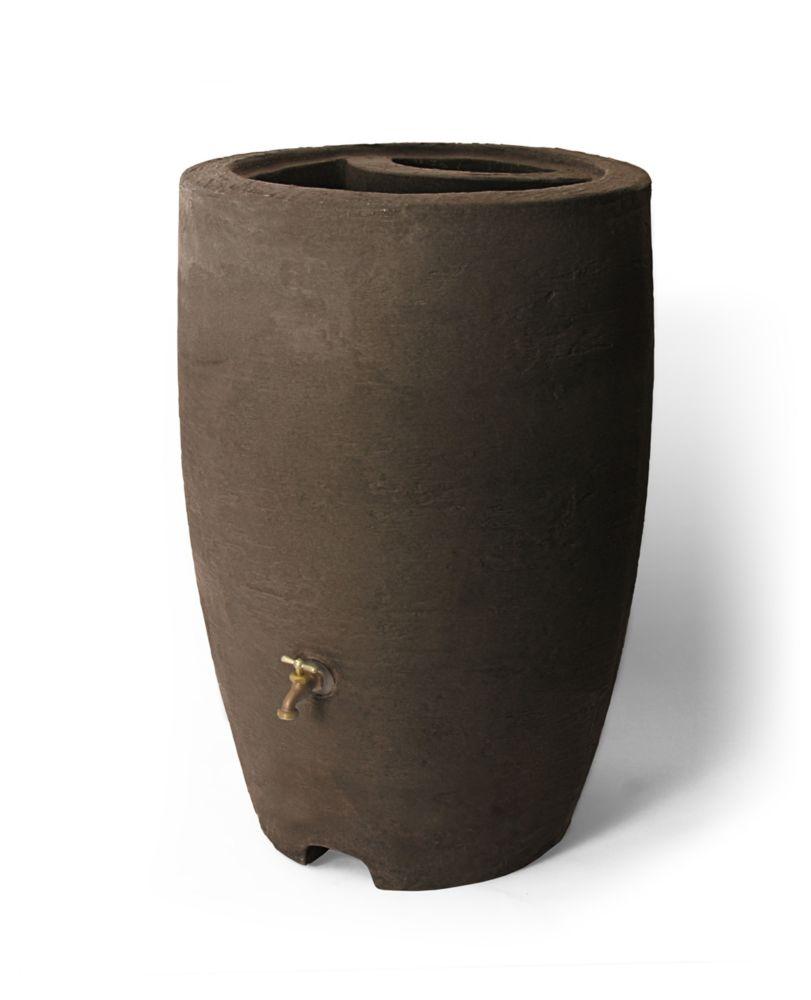 Athena 50 Gallon Rain Barrel With Brass Spigot, Brownstone