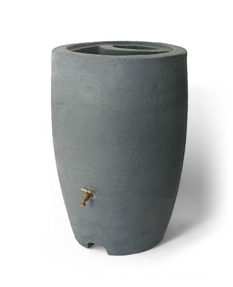 Athena 50 Gallon Rain Barrel With Brass Spigot, Charcoalstone