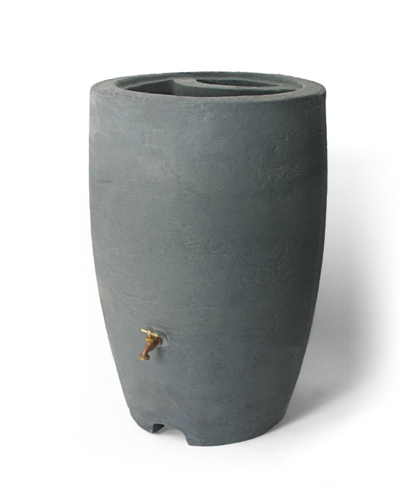 Algreen Products Athena 50 Gal. Rain Barrel with Brass Spigot in Charcoalstone