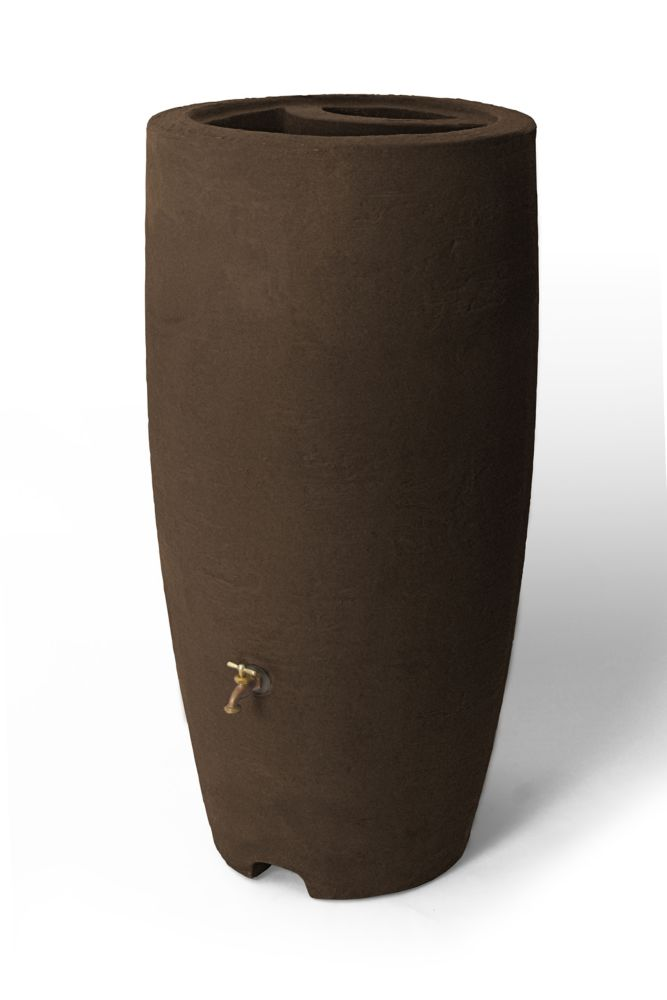 Athena 80 Gallon Rain Barrel With Brass Spigot, Brownstone