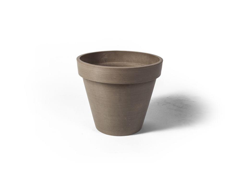 Pot de jardinière rond Valencia Algreen, 13,75 po x 12po, Taupe Texturé