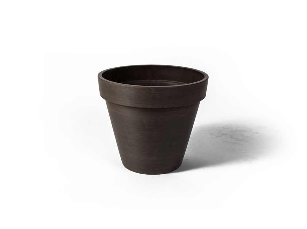 Valencia Round Band Planter Pot, 19.75 Inch X 15.75 Inch H, Textured Brown