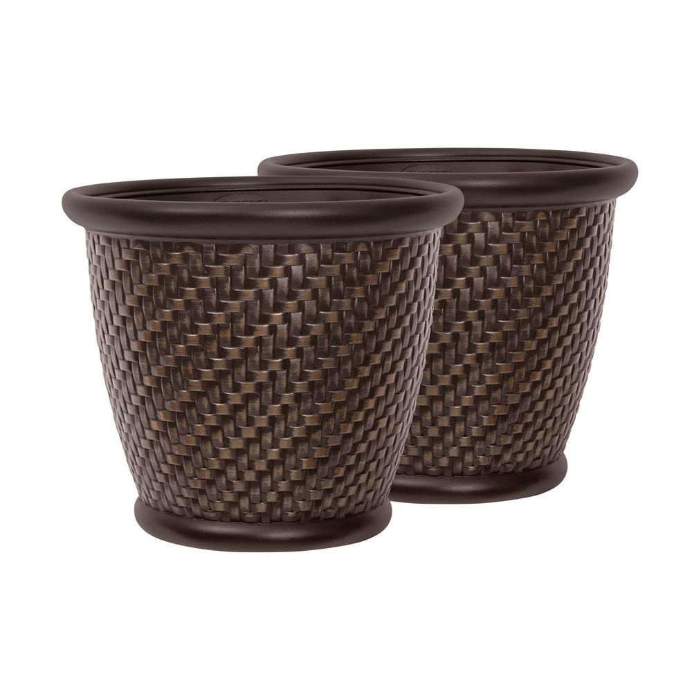 Herringbone 18 Inch X 16 Inch Bronze Painted Blow Molded Planter - 2 Pack