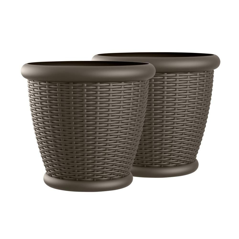 Willow 18 Inch X 16 Inch Blow Molded Planter - 2 Pack