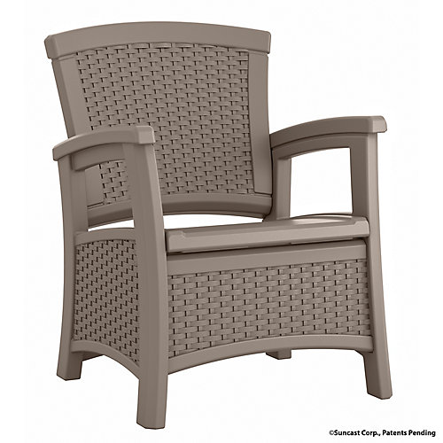 Elements Outdoor Club Chair with Storage in Taupe