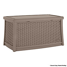 Patio Coffee Table with Storage in Taupe