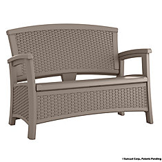 Wicker Bench with Storage in Taupe