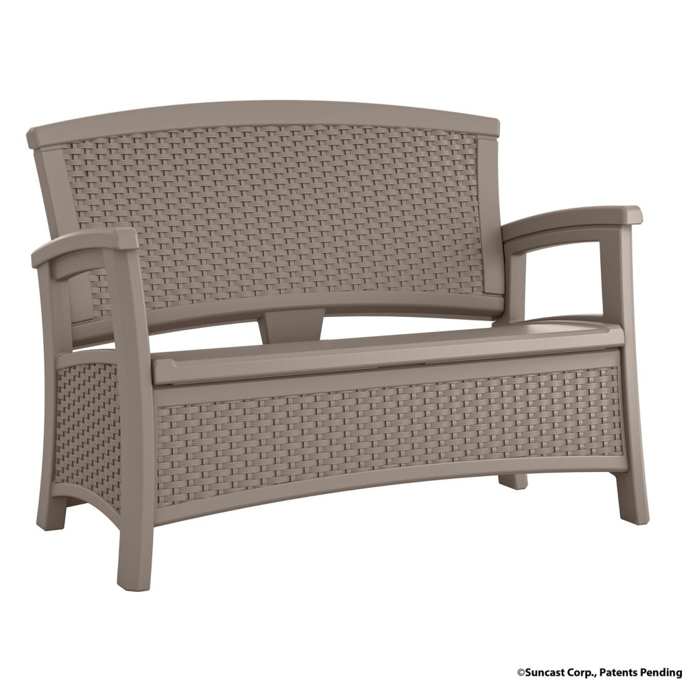 Wicker Bench With Storage, Taupe