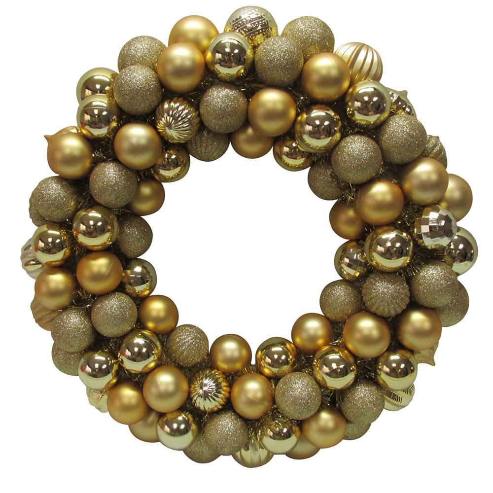 20 Inch Gold Ornament Wreath
