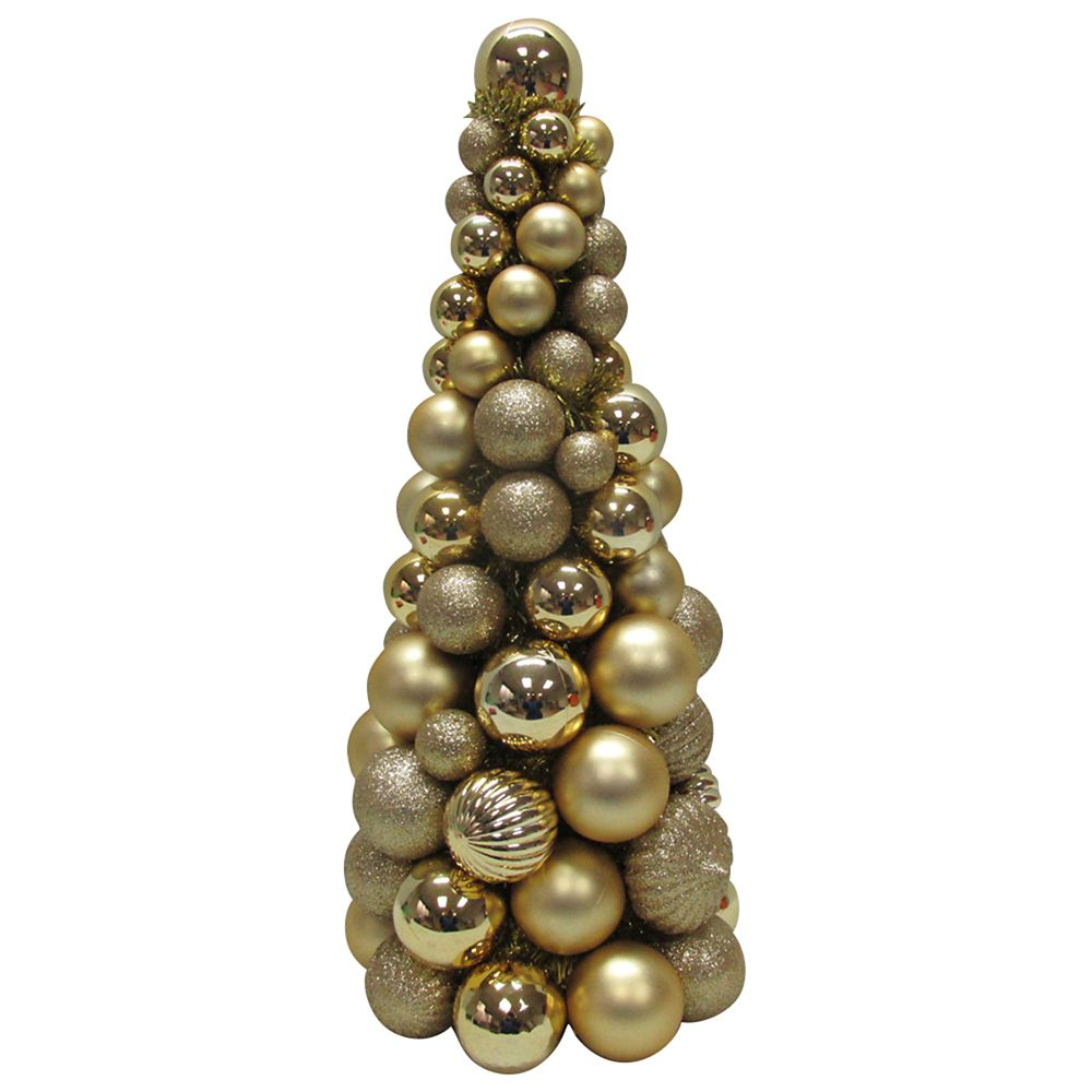18 Inch Shatter-Resistant Gold Ornament Cone Tree