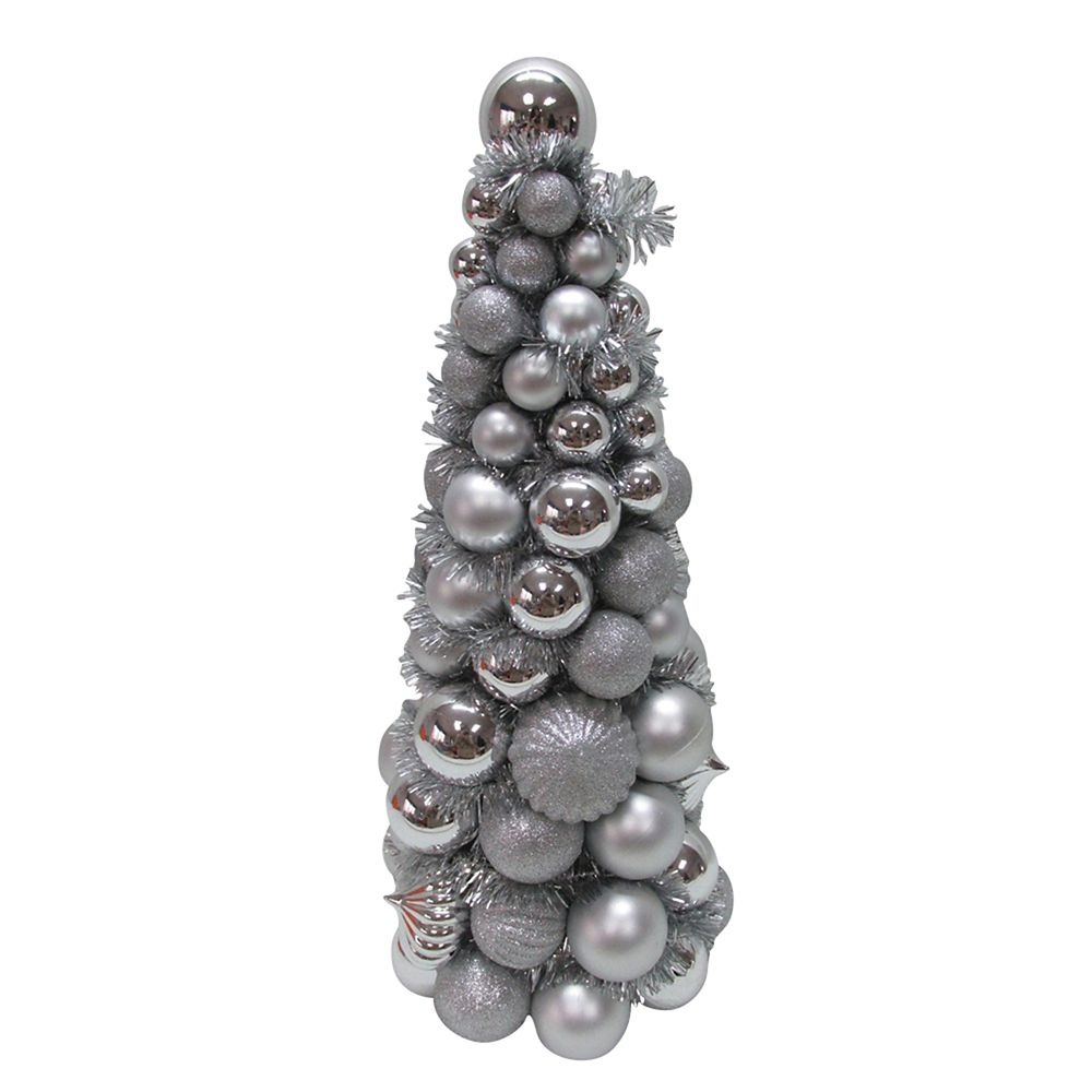 18 Inch Shatter-Resistant Silver Ornament Cone Tree