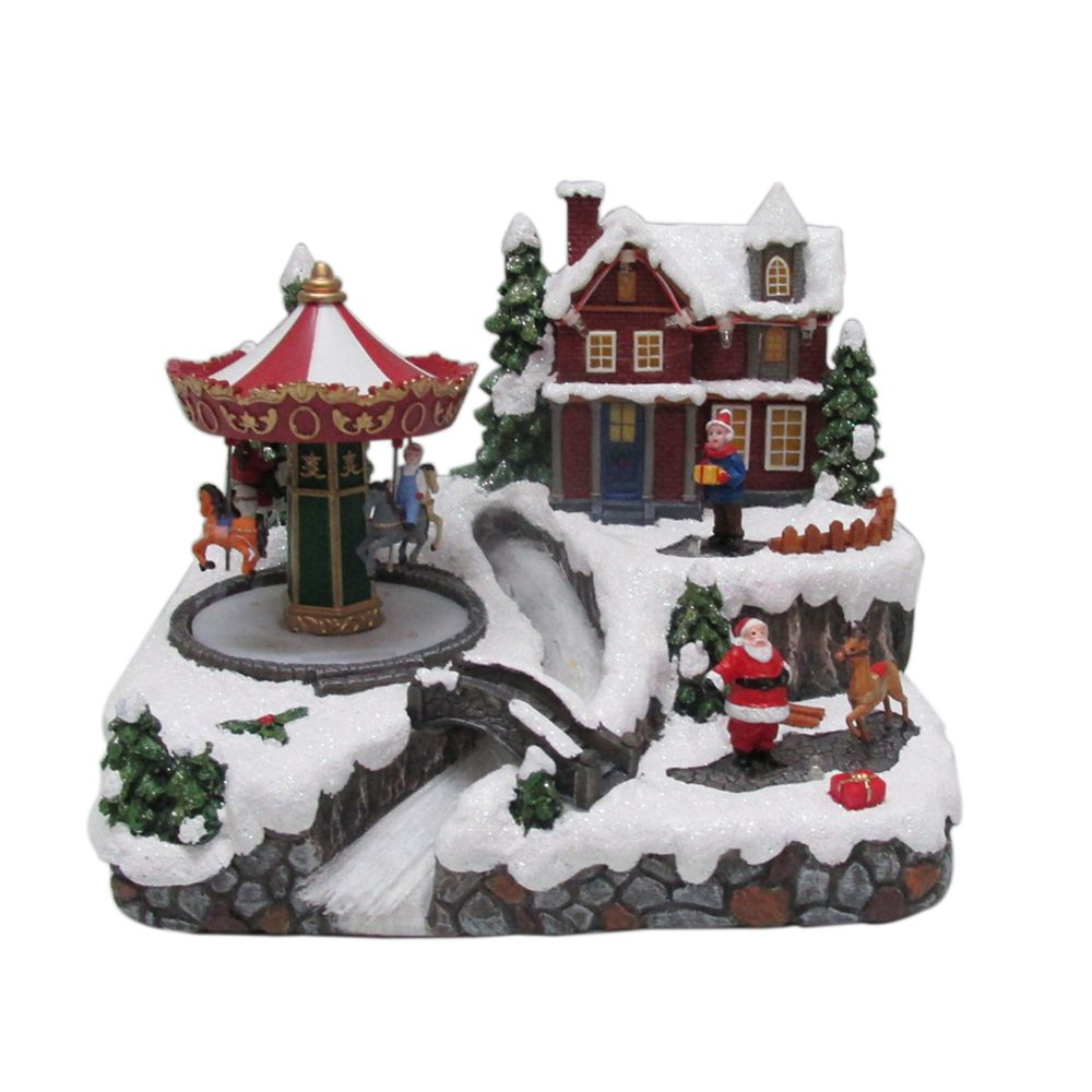 LED Village With Revolving Carrousel