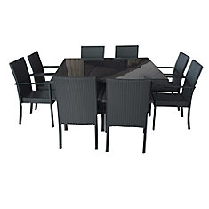 9-Piece Patio Wicker Black Dining Set Rectangular Table Steel Frame With Beige Cushions