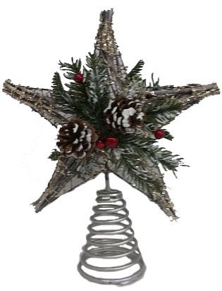 Natural Tree Topper With Berries & Pinecones