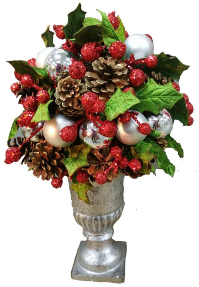 14 Inch Pinecones & Berries In Vase
