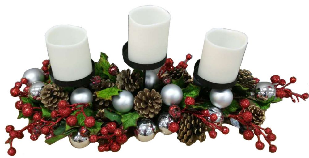 27 Inch Candle Holder With Pinecones & Berries
