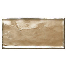 Structured Effects Balanced Taupe 3 Inch x 6 Inch Glazed Ceramic Wall Tile