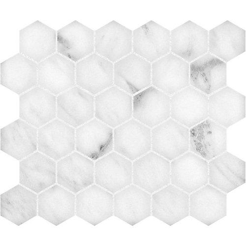 Bianco 12-inch x 12-inch Polished 2-inch Hexagon Mosaic Tile