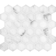 Bianco 12-inch x 12-inch Polished 2-inch Hexagon Mosaic Tile