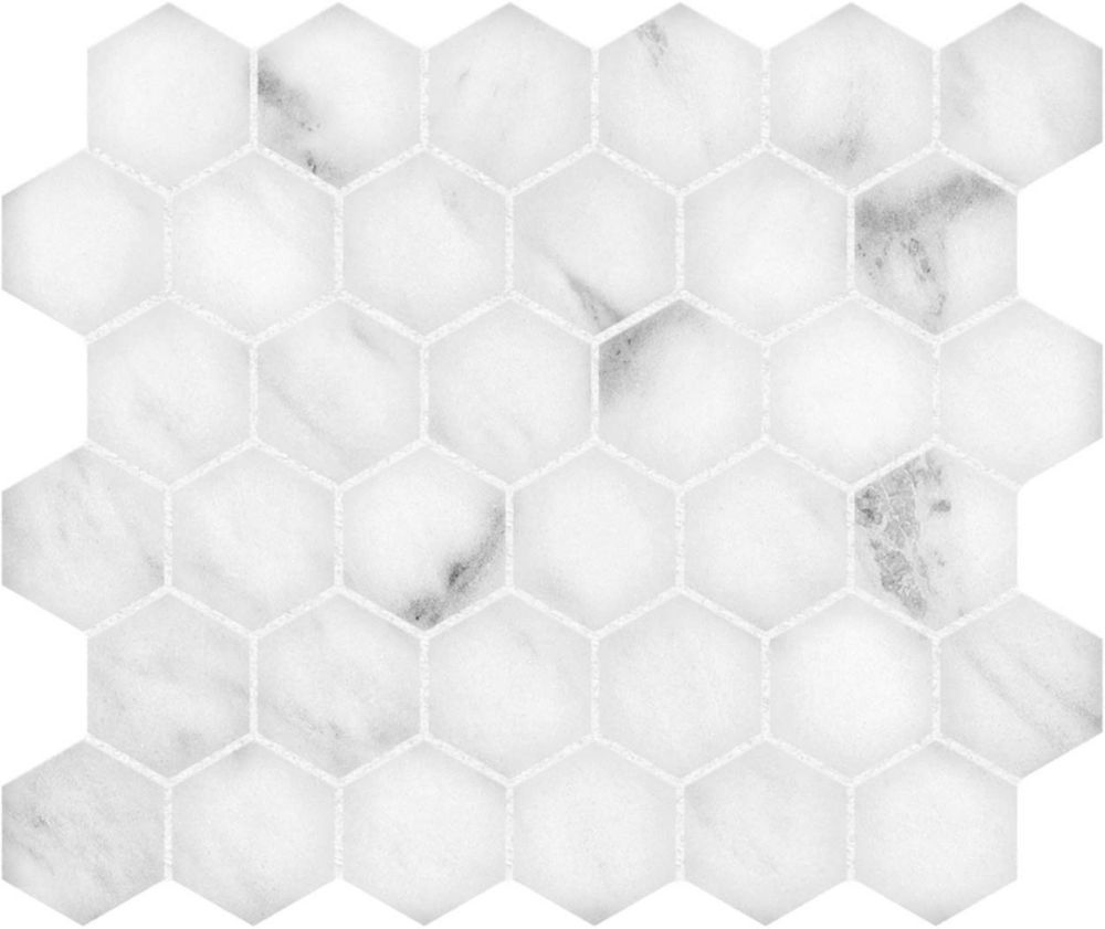 Si Bianco 12 Inch X Polished 2 Hexagon Mosaic Tile The Home Depot Canada
