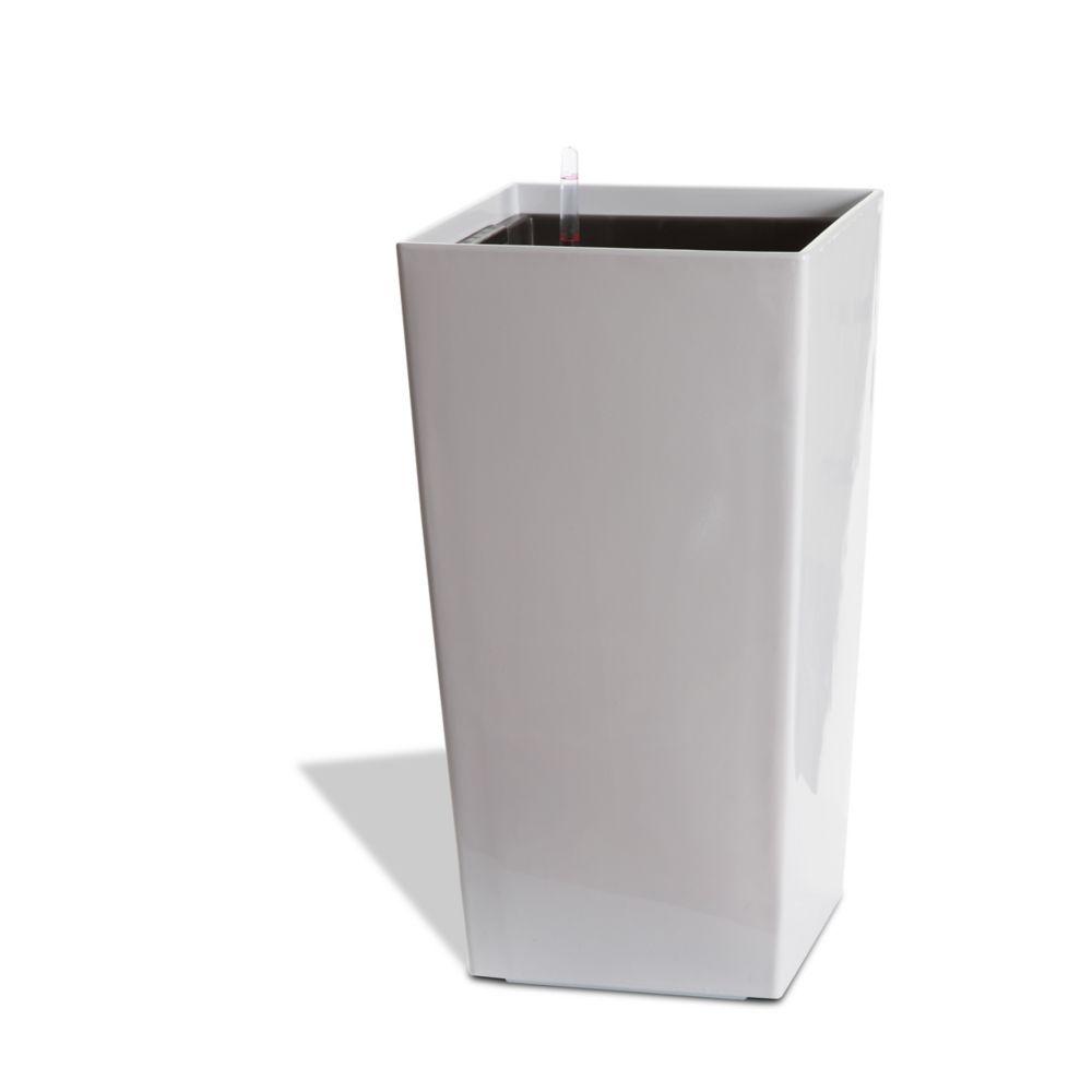 11404 Self Watering Square Modena Planter - Gloss White, 22-Inch