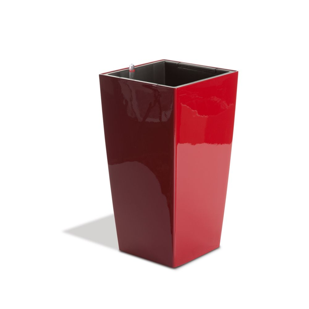 11503 Self Watering Square Modena Planter - Gloss Red, 16-Inch