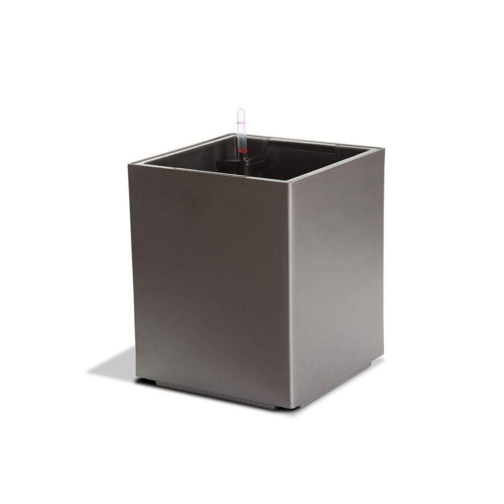 Algreen Products 12201 Self-Watering Modena Cube Planter in Matte Granite