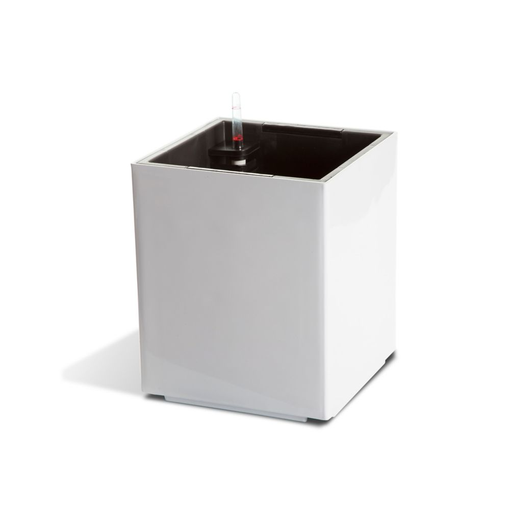 Algreen Products 12401 Self-Watering Modena Cube Planter in Glossy White