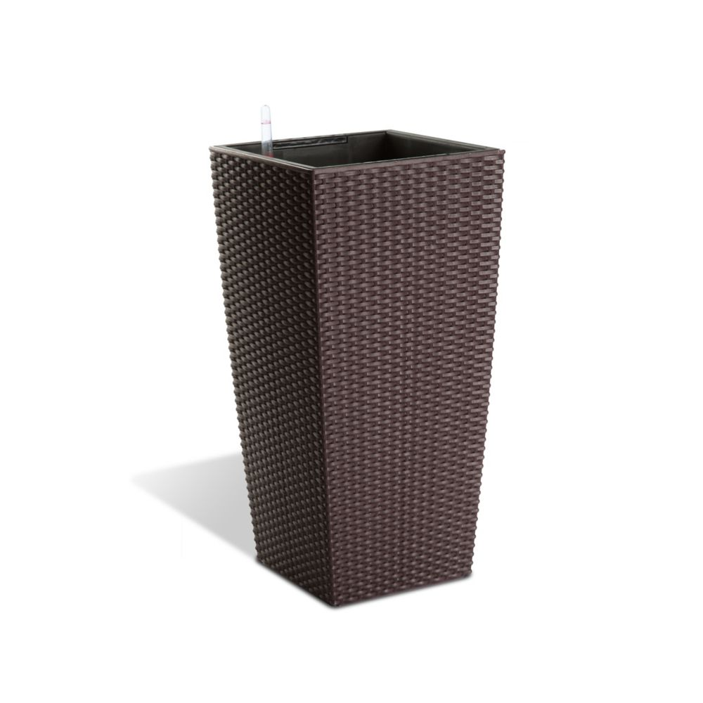 12401 22-inch Self-Watering Modena Rattan Planter in Mocha