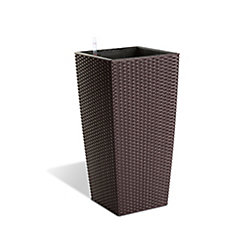 Algreen Products 12401 22-inch Self-Watering Modena Rattan Planter in Mocha