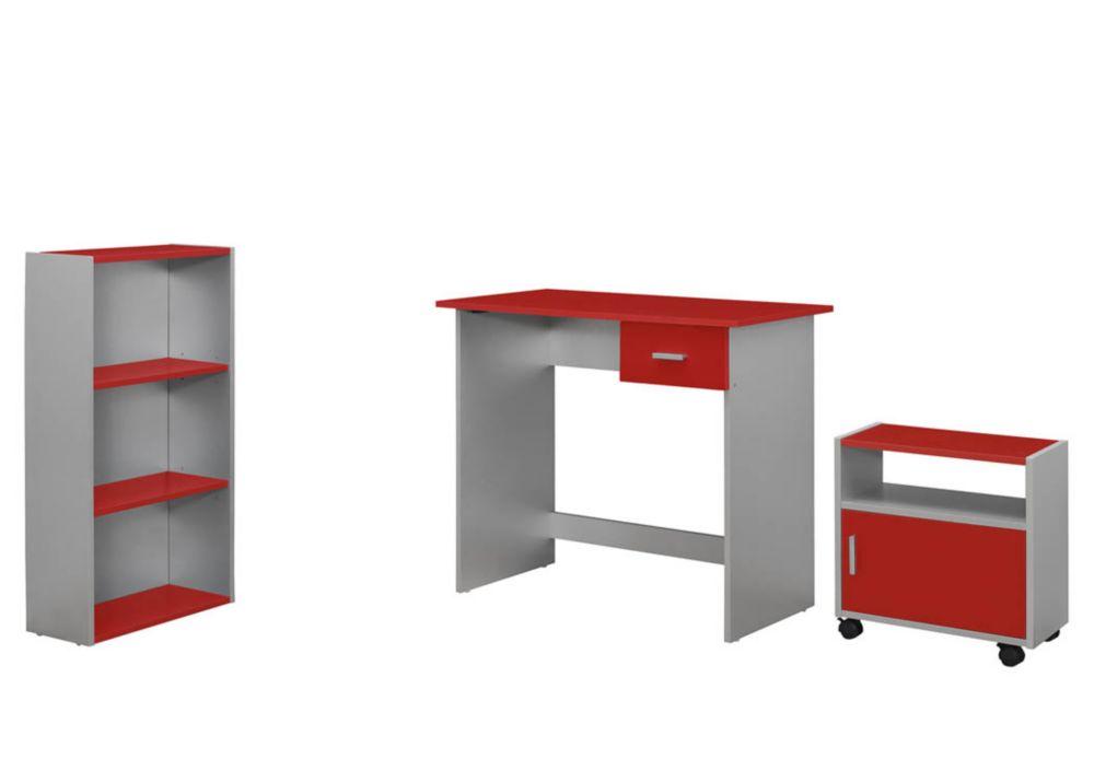 Computer Desk - 3PCS / RED / Silver Desk / Bookcase/ Cart