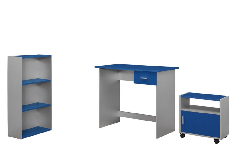 Computer Desk - 3PCS / BLUE / Silver Desk/ Bookcase/ Cart