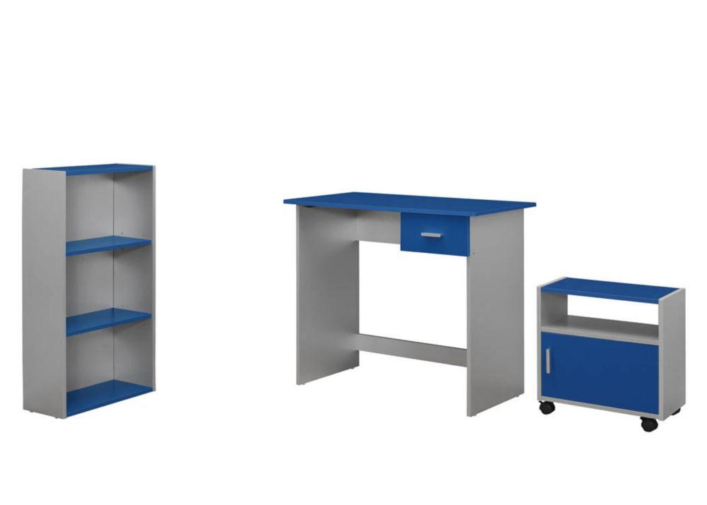 Computer Desk - 3PCS / BLUE / Silver Desk/ Bookcase/ Cart