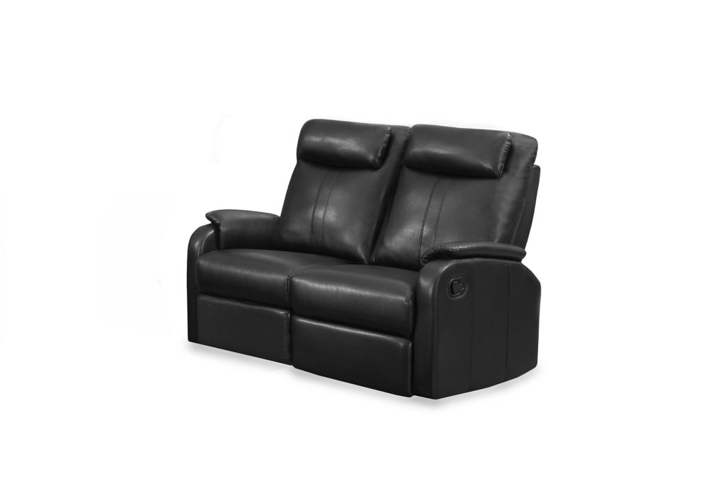 Reclining - BlackBonded Leather Love Seat