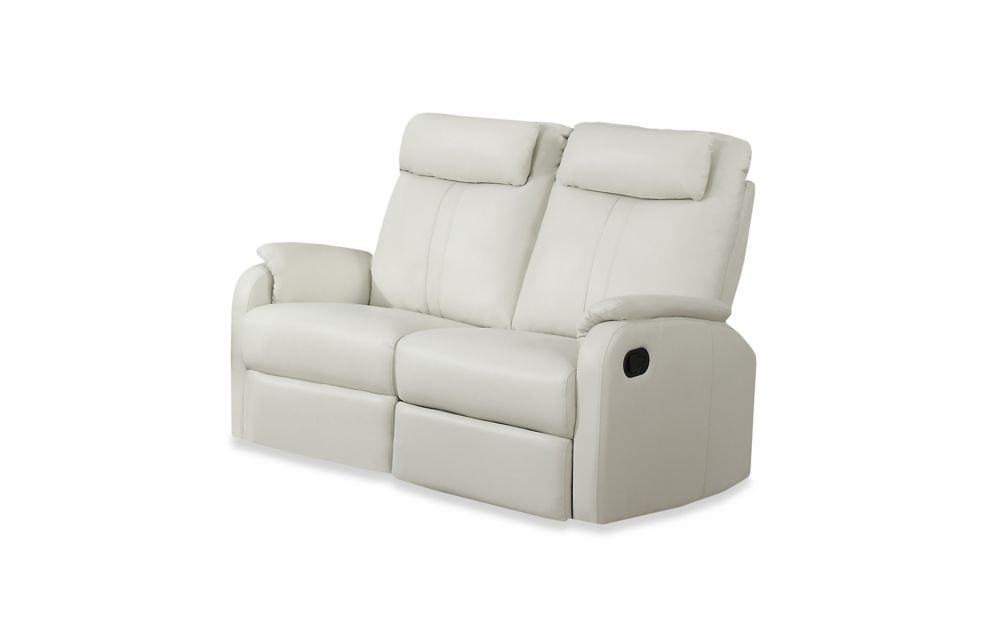 Reclining - Ivory Bonded Leather Love Seat