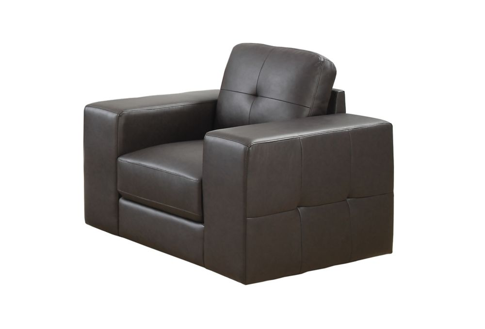 CHAISE - CUIR RECONSTITUE BRUN FONCE