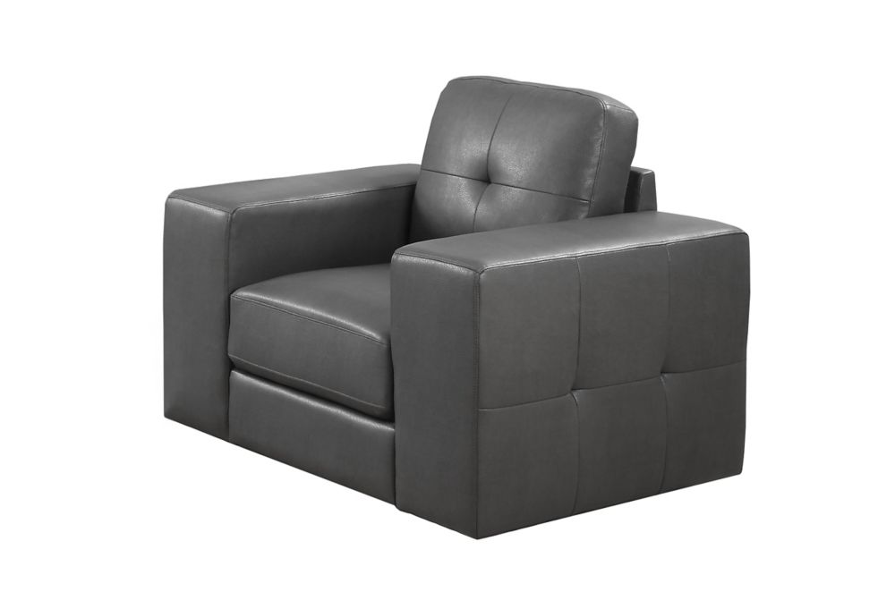 Chair - Charcoal Grey Bonded Leather