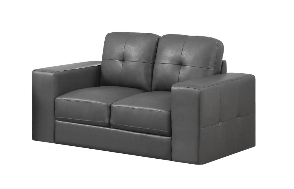 Monarch Specialties Love Seat - Charcoal Grey Bonded Leather