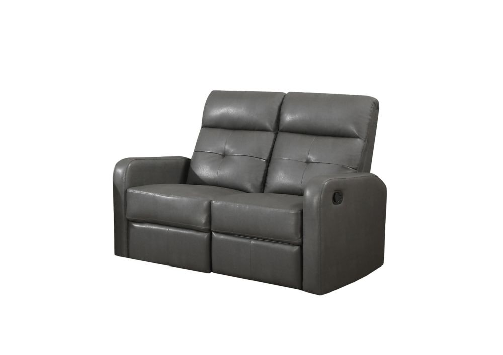Reclining - Grey Bonded Leather Love Seat