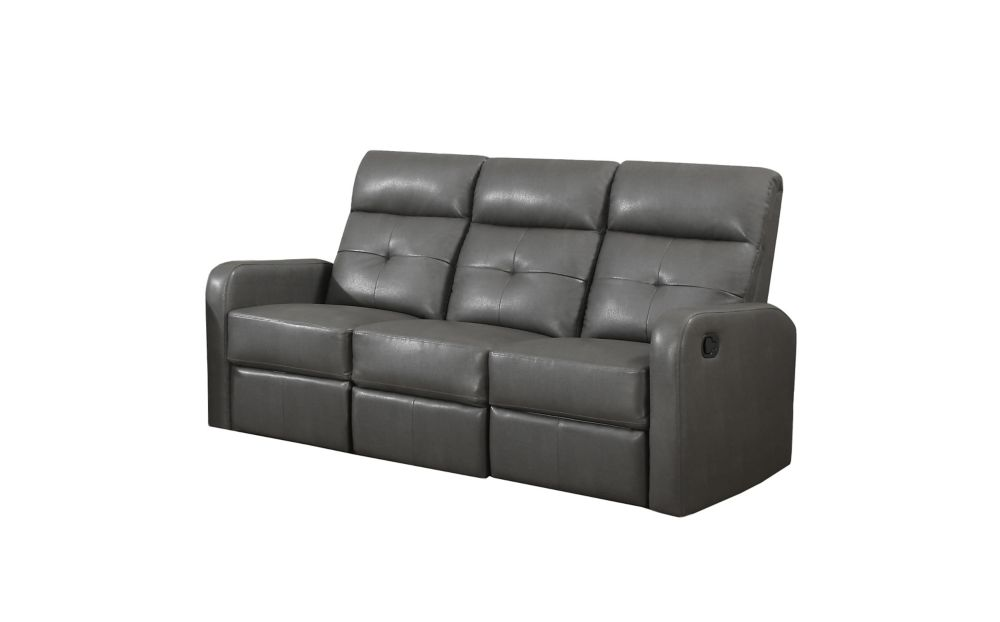 Reclining - Grey Bonded Leather Sofa