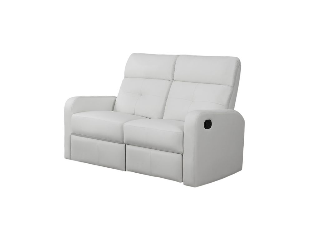 Reclining - White Bonded Leather Love Seat